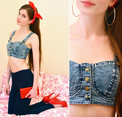 Ariadna Majewska - Baby Face Jeans Bralette, Vintage Red Bandana, Pieces Navy Jeggings, H&M Gold Earrings, Toria Blanic Red Heels, Red Handbag - Modern Pin-Up
