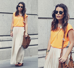 Sara E. - Zara Top, Zara Skirt - Orange & Nude