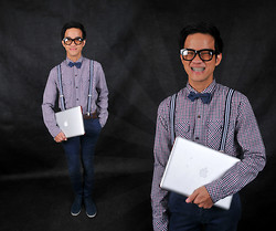 Marky Garcia - Mint Long Sleeves, Robinson's Dept Store Bow Tie, Folded And Hung Fancy Glasses, Sm Accessories Suspenders, Folded And Hung Chino Pants - Mr. Genius