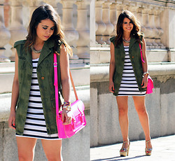 Sara E. - Zara Vest, H&M Dress, Stella Rittwagen Bag, Zilian Shoes - Striped Dress
