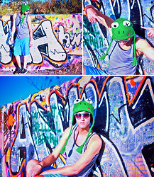 Nico Marino - American Rag Striped Tank, Merona Oxford Shorts, Bioworld Frog Wink Plush Eyes W/ Loop Embroidered Knit Laplander Hat - Frog Beanie and Graffiti