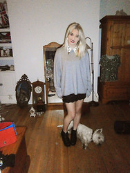 Charlie Ashfield - My Dads Grey Jumper, Ivory Jar Cross Collar, Urban Outfitters Lace Skirt, Jeffrey Campbell Black Litas - Pur(e)itan