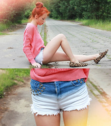 Wioletta Mary Kate - Romwe Shorts, Oasap Sweater, Sheinside Shoes - Watermelon sweater & ombre shorts