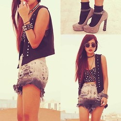 Bernadette F - Forever 21 Top, Vintage Vest, Romwe Punk Style Spike Bracelet, Vintage Fucking Ripped High Waisted Shorts, River Island Heels - JUST LET ME M*TH*RFU*KING LOVE YOU (  ROMWE GIVEAWAY )