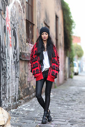 Micah Gianneli - Sportsgirl Wool Blend Beanie, Bonds Oversized Tee, Jeremy Scott Torero Jacket, Vintage Metal And Leather Belt, Alice And Olivia Stretch Leather Pants/Leggings, Jeffrey Campbell 'Coltrane' Leather Biker Buckle Boots - L i k e   a   b o y