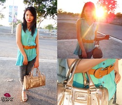 Kim Anne C - Candies Sheer Asymmetric Top, Candies Skinny Jeans, Mango Bag, What Women Want Camel Belt - Sheer Hope