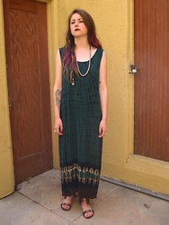 SPIRITANIMALS VINTAGE - Vintage Tie Dye Maxi Tank Dress, Vintage Beaded Sandals - Tie-dye maxi