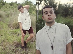 Damian Gonzalez - Liz Claiborne Diy Geometric Dress Shirt, Alligator Tooth Necklace, Pacsun Diy Burgundy Shorts, Aldo Brown Boots - DIY Summer