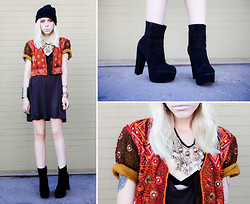 Madeline Pendleton - Oasap Boots, Vintage Jacket, Thrifted Dress, Jfr Cuff, Lime Crime Lipstick - D'Lilac