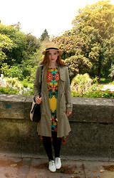 Sarah Louise - Brogues, Tropical Dress, Best Of British Trench, H&M Straw And Leather Bag, H&M Boater, Topshop Bug Studs - Tropical Trench