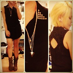 Juvy Yamilao - Forever 21 Black Dress, Charlotte Russe Triangle Necklace, Charlotte Russe Boots - Shapes