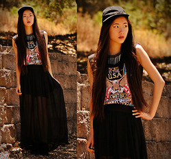 Jennifer Wang - Romwe Skull And Spikes Necklace, Choies Harley Davidson Tee - TRUCKER CHIC