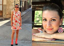 Iryna G - H&M Dress, Yves Saint Laurent Sunglasses, André Shoes, Made My Friend Earrings - Grapefruity girl