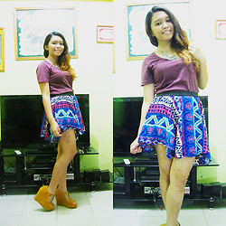 Lesly D. - Borrowed Basic Shirt, Diy Tribal Print Uneven Skirt, Mustard T Strap Wedges - Uneven