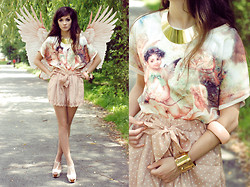 Sonja Gje - River Island Gold Necklace, Shirt And Shorts - You are my angel