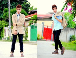 Michael John Alvarez - Brown Coat, Skinny Jeans - I dont mind the pain put it on me.