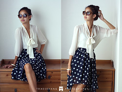 Kacie H. - Forever 21 High Low Navy Polka Dot Skirt, Forever 21 White Bow Blouse - You're The Best