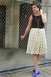 Emily Reifert - Thrift Polka Dot Blouse, Gold Chain, Feather Earings, Thrift Polka Dot Skirt, Thrift Blue Swede Shoes - From another time...