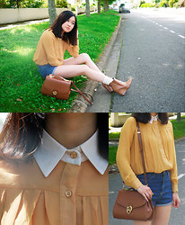 Anne - Mustard Chiffon Shirt, Denim High Waisted Shorts, Vintage Bag, Beny Socks, Minelli Wedges - Yellow for a sunny day