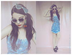 Natanya Waybourne - River Island Floral Playsuit, Primark Bow, New Look Floral Sunglasses, Primark Cherries, New Look Over Knees, Dr. Martens Mary Janes - Cherry Daydreams