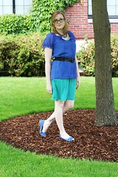 Chelsea P - Old Navy Peasant Top, Tj Maxx Teal Dress, Target Peep Toe Flats - Into the Wild Blue Yonder
