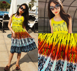 Kim Anne C - Folded & Hung Tribal Print Dress, What Women Want Leopard Print Sunnies - One Colorful Summer