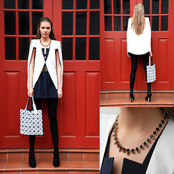 Dasha Gold - Lady Fox Necklace, Issey Miyake Bilbao Lucent Tote By Bao Bao, Bariano Metal Plate Belt, Cameo The Label 'Hallucination' Dress, Lady Fox Necklace, Rmk High Heel Pump - Geometric Shapes