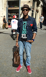 "Nico Xavier - Nike Cherry Mid Blazer, Ray Ban Wayfarer Tortoise, Levi's® Jean's Jacket, Lego Heart Pin, Celldvsn ""Let's Talk About Cell"", Asos Washed Skinny, Asos Brown Leather Handbag - A Sunny Day In Paris"