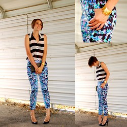 Kate Schneider - Forever 21 Striped Blouse, Asos Floral Print Pants, Noir Scarab Cuff - Til you get enough