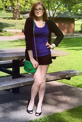 Chelsea P - Target Tank, Old Navy Cardigan, H&M Shorts, Payless Peep Toe Heels, Forever 21 Green Patent Cross Body Bag - Patent Pending