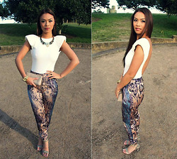 Jessica Tuong - Asos Leotard, Sportsgirl Necklace, Micheal Kors Watch, Mimco Shoes, Forcast Harem Pant - Cool & Collect