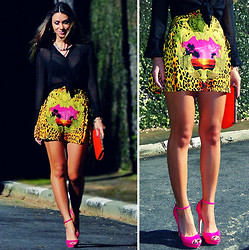 Vanessa Vasconcelos - Sheinside Skirt, Bershka Heels - Colorful leopard skirt