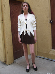 SPIRITANIMALS VINTAGE - Vintage White Cut Out Open Back Blazer W/ Lace Detail, Vintage Suede Mini Skirt, Vintage Black Patent Leather Mary Janes - Vintage Open Back Cut Out Blazer w/ Lace