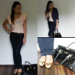 Angelina Sunshine - Topshop Top, Max&Co. Navy Blue Trousers, River Island Bag, H&M Shoes - Exam Day