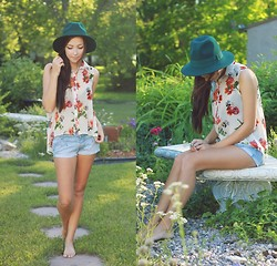 Breanne S. - Romwe Sheer Floral Blouse, Forever 21 Green Hat - It's a barefoot kind of day