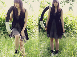 Jenna G - Forever 21 Black Vest, Sugarlips Grey Dress, Ankle Socks, T.U.K. Creepers - You always answer with a question