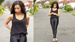 Shirley B. Eniang - New Look Top, American Apparel Disco Pants, Zara Heels - All About Black.