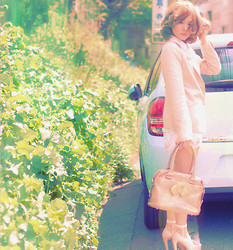 Junko Suzuki - Ozoc Pink Jacket, Forever 21 White Flower, Ted Baker Ribon Bag, Anteprima Race Socks - Spring dreams take me wherever