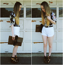 Stacey Belko - Tunnel Vision Shirt, Oasap Clutch, Minkpink Shorts, Finsk Wedges - Mink pink slasher flick.