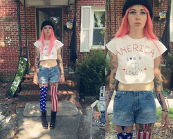 Annri L. - Diy America Shirt, Diy Spiked High Waisted Shorts, Black Milk Clothing Amerika Suspenders, Jeffrey Campbell Back Offs - L♥ve it or leave it.