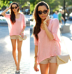 Jessica R. - Romwe Pink Sheer Sweater, Flirt Catalog Striped Shorts, Very Honey Purse, Vivilli Cat Eye Sunglasses, Aldo Cream Heels - It Started with a Whisper + VIVILLI Giveaway