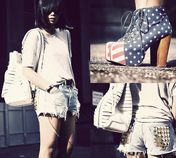 Anjelica Lorenz - Jeffrey Campbell Stars And Stripes Litas, Bitching And Junkfood Studded Shorts, Alexander Wang White Backpack - HAPPY 4TH!!