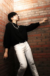 Glenn Torres - Topman Chains, Guess? White Pair, Hand Me Down Oversized Buttondown - Brick Wall