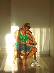 Christian Barrera P. - Haniyem Green / White, Quest Denim Bermuda, Bershka Braided Hat, Festi Club White Shoes - Hot summer