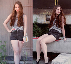 Essi S - Diy Cross Studded Shorts, Valleygirl Shirt, Thrift Store Bag, Topshop Studded Flats - Falling from cloud nine