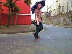 Paul O' Farrell - Pop Boutique Red Paisley Shirt, River Island Dark Green Skinny Jeans, New Look Brown Dress Shoes - Standing in the rain