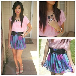 C. Le - Wet Seal Skirt, Forever 21 Shirt, Jessica Simpson Shoes, House Of Harlow Necklace - Summer Colors
