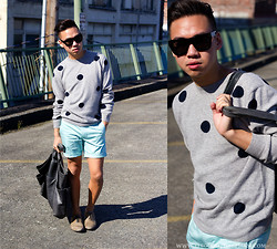 Stephen Pham - Chauncey Cashmere Sweater, H&M Organic Cotton Shorts, Zara Leather Shoes, Lanvin Sunglasses, Club Monaco Leather Tote Bag - Dot dot dot...