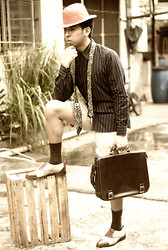 Reyner Cadapan - Kultura Straw Hat, Blue Stripped Long Sleave, Vintage Necktie, Palomino Khaki Shorts, Boss Brown Leather Bag, Bruno Magli Brown Shoes - WONDER