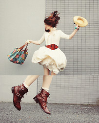 Shan Shan - Vintage Dress, Diy Boots - Fly, with my DIY studs boots